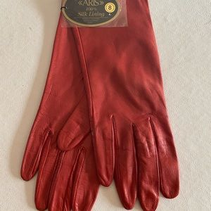 ARIS TABASCO RED LEATHER SILK LINED GLOVES